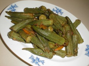 okra with red chillies